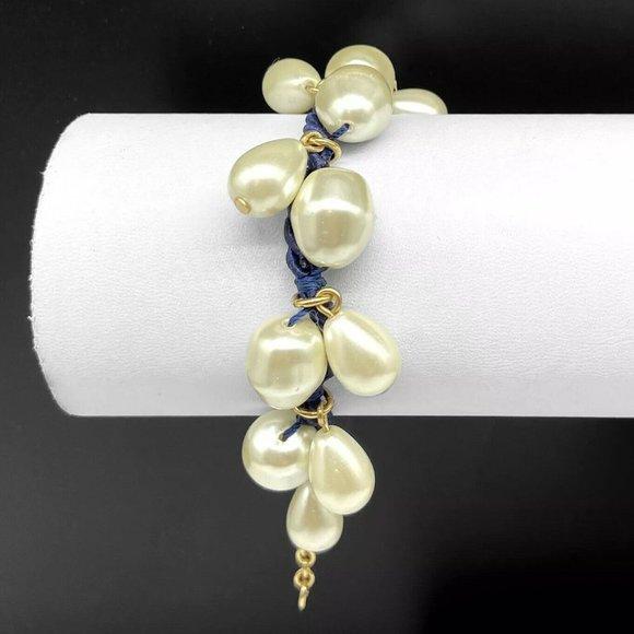 Talbots Faux Pearl Beaded Navy Blue Cord Bracelet